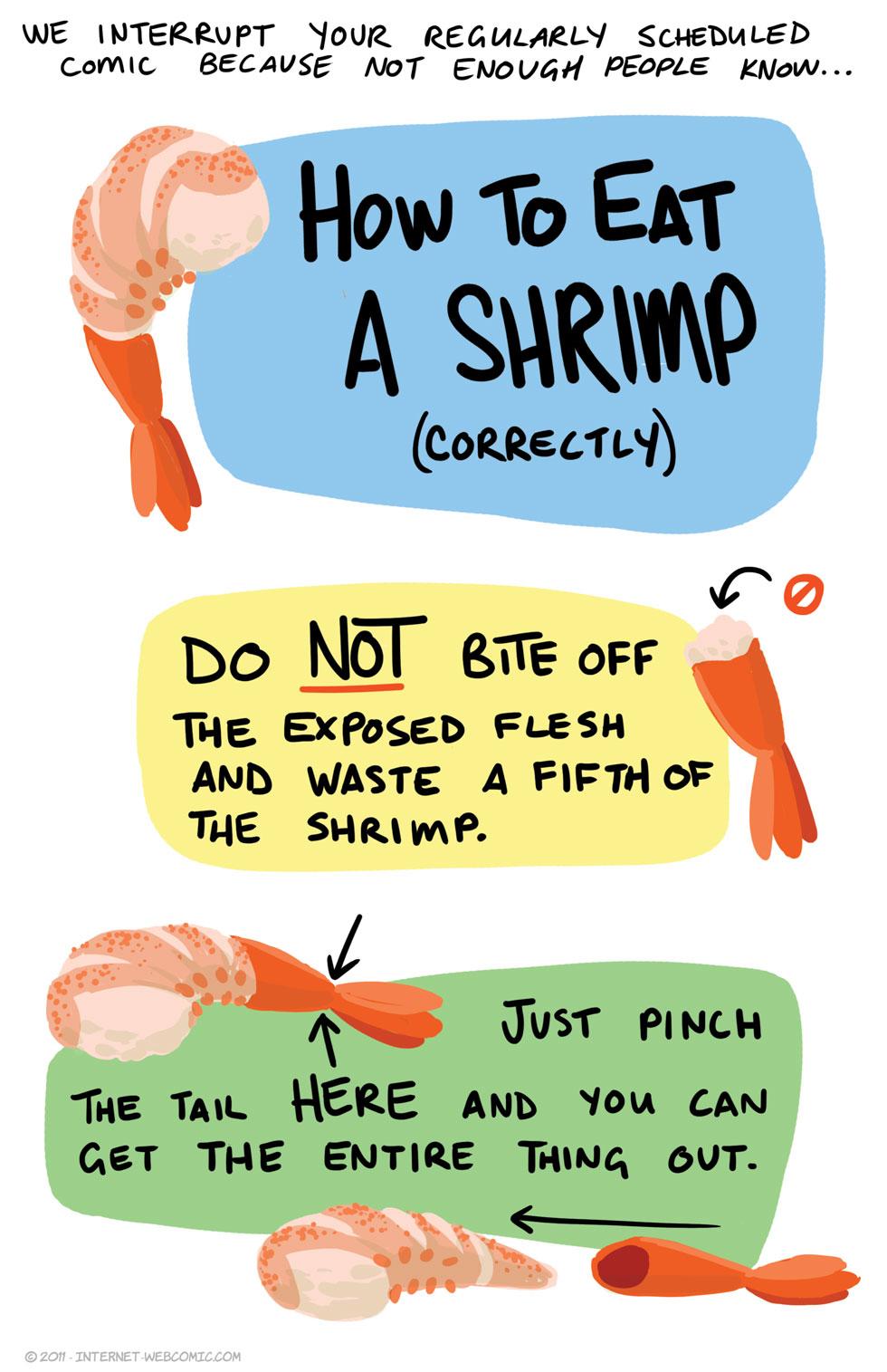 internet webcomic how to eat a shrimp